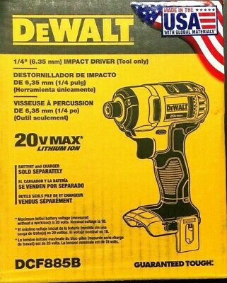 "DEWALT DCF885B 20V 1/4"" in Max Variable Speed Cordless Impact Driver - BARE TOOL"