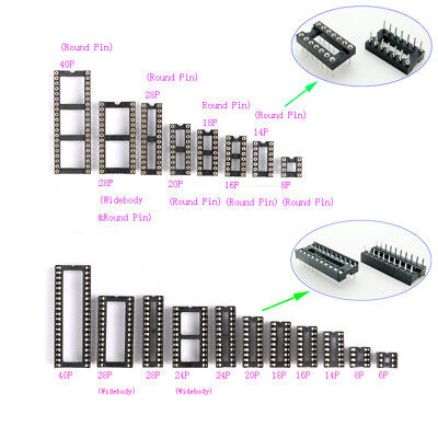 2.54mm IC Socket DIL / DIP 6P,8P,14P,16P,18P,20P,24P,28P,40P Pin IC Chip Sockets
