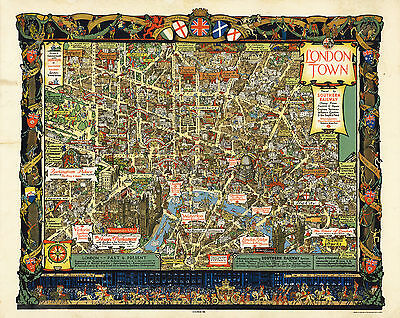 1938 Pictorial Historical Map Central London Vintage Wall Art Poster Print Decor