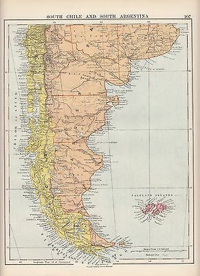 1923 Map ~ South America South Chile & Argentina ~ Falkland Islands
