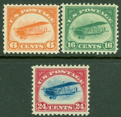 EDW1949SELL : USA 1918 Scott #C1-C3 Very Fine-Extra Fine, Mint OG. Catalog $195.