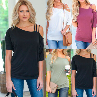 Womens Ladies Cold Shoulder Summer Tops Blouse Casual Loose Beach Casual T-Shirt