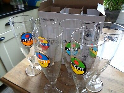 Vedett glas verre glass new set of 6 in box 33 cl 2019 in  box duvel brewery