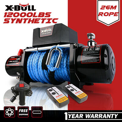 X-BULL Electric Winch 14500LBS 12V Waterproof Truck Trailer Synthetic Rope 4WD