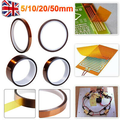 1/2pc 5/10/20/50mm Kapton Tape Heat Resistant High Temperature Polyimide 100ft G