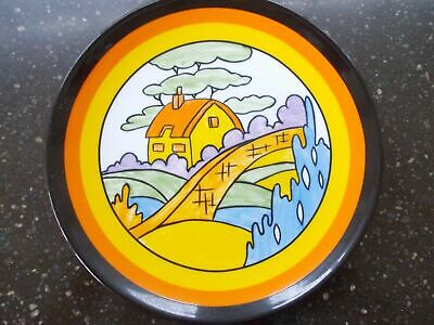 Clarice Cliff Hand Painted Orange Roof Cottage Plate By Wedgwood Boxed + Coa