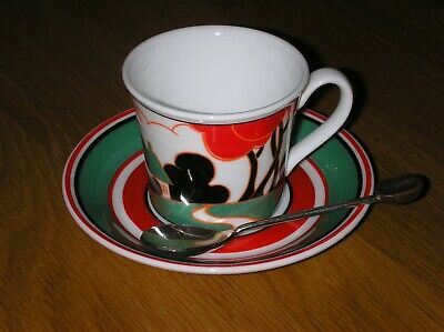 Clarice Cliff  Red Autumn Cafe Noir Cup Saucer Spoon  By Wedgwood Mint Condition