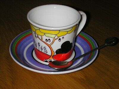Clarice Cliff Fantastic Tulip Noir Cup Saucer Spoon By Wedgwood Mint Condition