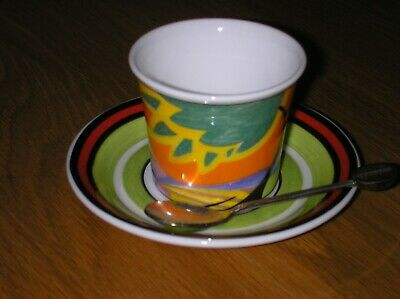 Clarice Cliff Monsoon Cafe Noir Cup Saucer Spoon By Wedgwood Mint Condition