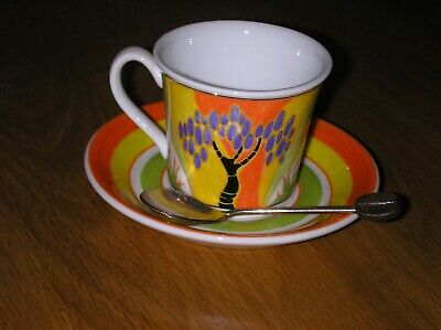 Clarice Cliff Windbells Cafe Noir Cup Saucer Spoon By Wedgwood Mint Condition