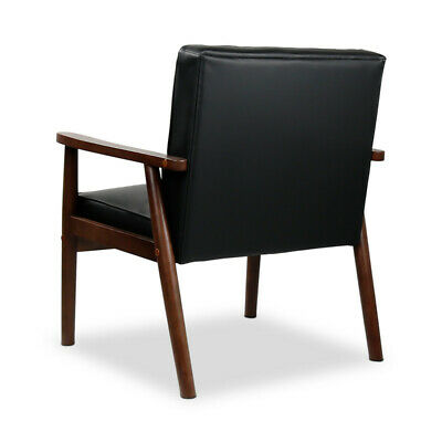Mid-Century Modern Accent Chair Wooden Arm Upholstered Lounge Chairs Living Room