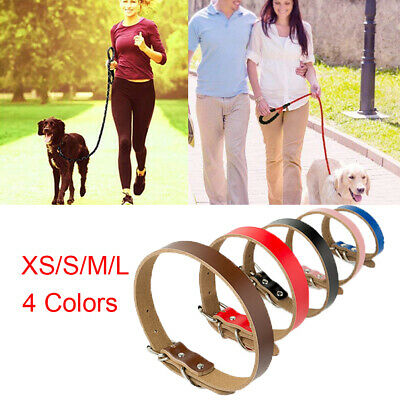 Strong Real Leather Dog Collar Pet Gog Cat Adjustable Lead Puppy Four Sizes CO