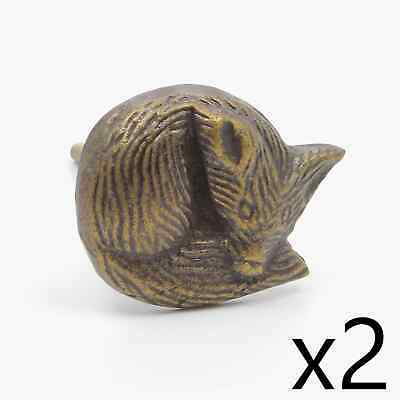 2 x Vintage Metal Antique Brass Cute Red Fox Animal Dog Knob, Pull, Handle, for