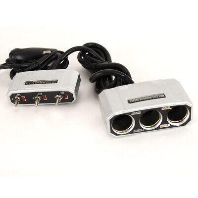 3 Way Car Plug Adaptor / Sockets 12V / 24V Plugs into Car Cigarette Lighter