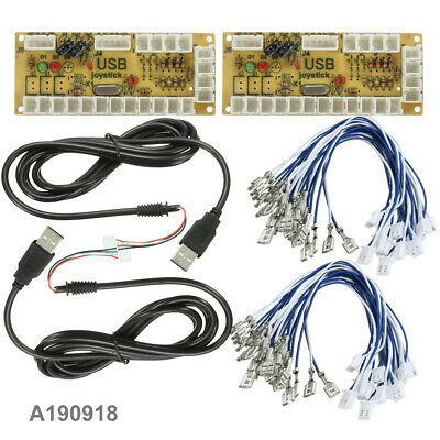 2Pcs Zero Delay USB Encoder For PC Arcade Joystick Buttons Cables DIY US Stock