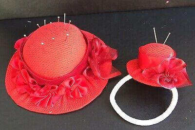 Handcrafted Pincushion hat set Mum Grandma Mother's Day Birthday Red Goft
