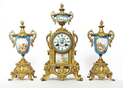 Antique A.camus French Ormolu Mantel Clock & Garnitures Painted Porcelain 19Th C