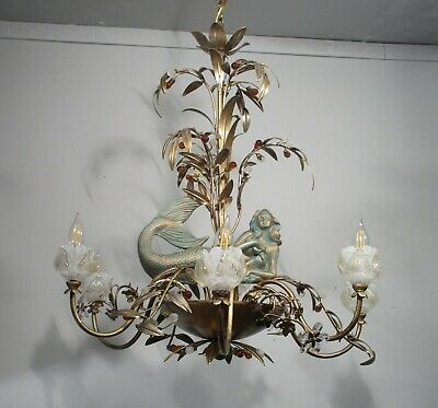 Antique Vintage  Chandelier Mermaids Crystals Unique Ornate 6 Lt Fixture  Floral