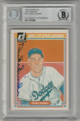 1983 Donruss Hall Of Fame Heroes Duke Snider Autograph Beckett Authenticated