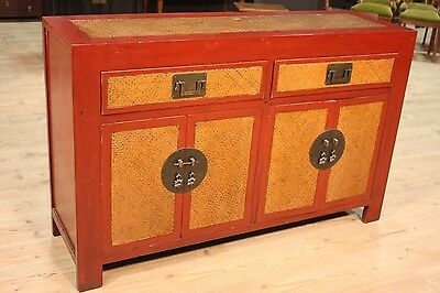 Cupboard Lacquered Wooden Red with Inserts Lines Dresser Chinese Antique Style