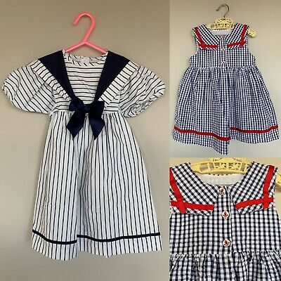 2 Vintage Baby Girl 12-24M Nautical Sailor Gingham Stripe Bow Party Summer Dress