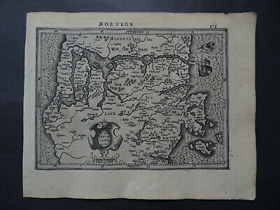 1608 HONDIUS  Mercator Atlas map  North Denmark  Jutland - Jutla Septentrionalis