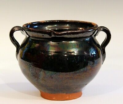 Antique Early American Country Black Redware Pitcher Jug Bowl Manganese Glaze