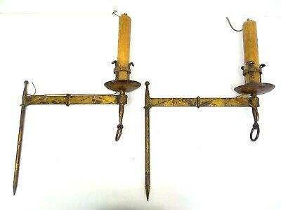 Vintage Gold Colored Metal Iron Gothic Style Wall Sconces Electric Lights Parts