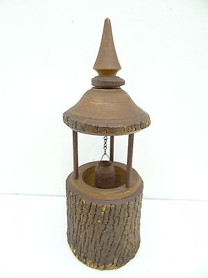 Vintage Old Carved Shepherd Farm 305 Wood Wooden Wishing Well Decorative Carving