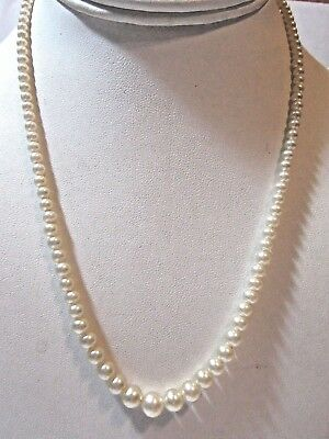 Simulated Faux Pearl Necklace Vintage Graduated Dainty Signed Sterling Clasp
