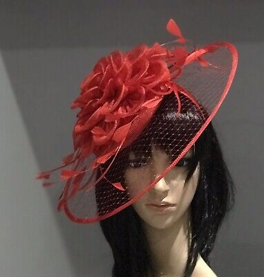 RED WEDDING ASCOT Disc HATINATOR HAT Occasion HAT Mother Of The Bride FORMAL