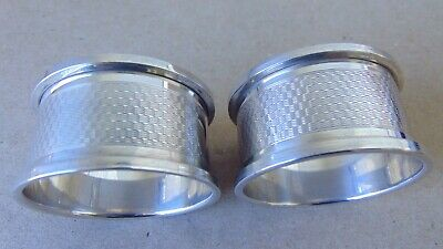 Excellent Beautiful Antique Sterling Silver Napkin Rings 1927