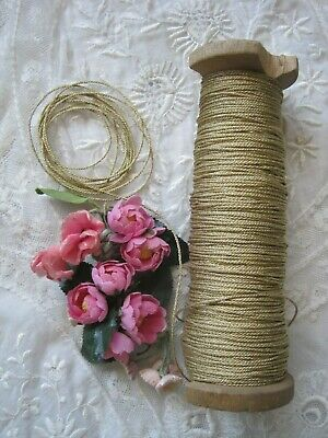 Antique French, Slightly Shiny Gold Metal Twist Thread, Thick Trim Cord  1 Yard