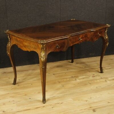 Furniture Table Desk French Secretary Desk in Wood Antique Style Louis XV Bronze
