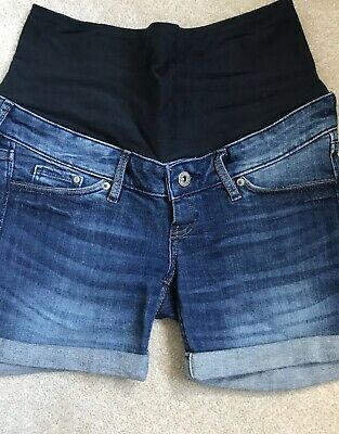 h&m womens blue denim maternity shorts size Small / 8 / eur 36