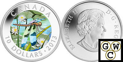 2013 'Twelve-Spotted Skimmer Dragonfly' Proof $10 Silver Coin .9999 Fine (13170)