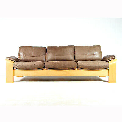 Retro Vintage Danish Leather & Oak Seat 3 Seater Sofa 60s 70s Mid Century Design