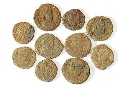 10 ANCIENT ROMAN COINS AE3 - Uncleaned and As Found! - Unique Lot 11844