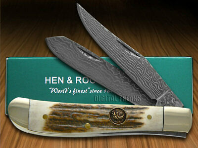 HEN & ROOSTER AND Genuine Deer Stag Damascus 1/300 Mini Trapper 212DAM/DS Knife