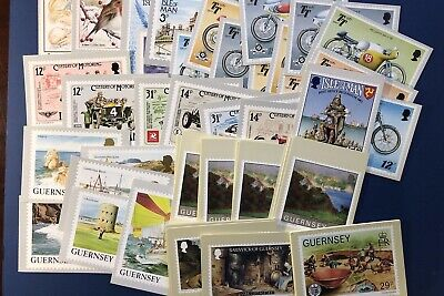 Guernsey & Isle Of Man Collector Items Postcard Lot 0F 61. Mint & Sets. 1980'S.