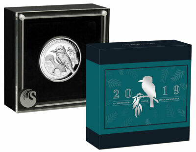 2019 P Australia 1 oz High Relief Silver Kookaburra $1 Coin GEM Proof SKU57909