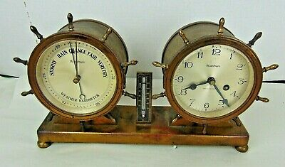 Waterbury VINTAGE SHIPS BELL CLOCK & BAROMETER SET Ships Wheel Trim-1929