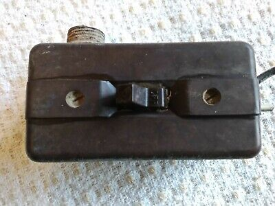 Old Vintage Antique Bakelite Brown switch and cover with metal box