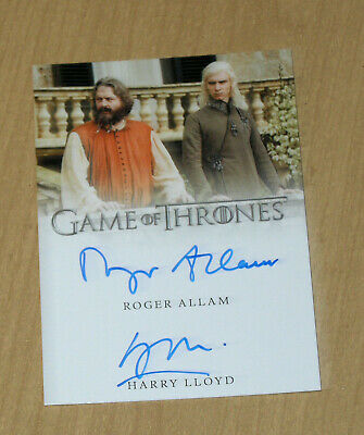 2019 Game of Thrones Inflexions dual autograph auto Roger Allam Harry Lloyd