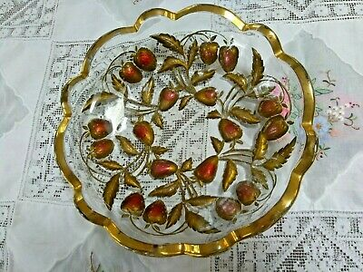 Antique Northwood Strawberry Intaglio goofus red gold painted glass large bowl