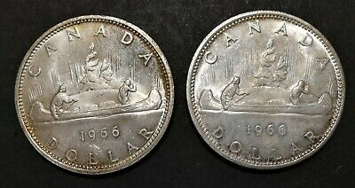 Lot of 2 1966 MS Canadian Silver Dollar Coin $1 Canada