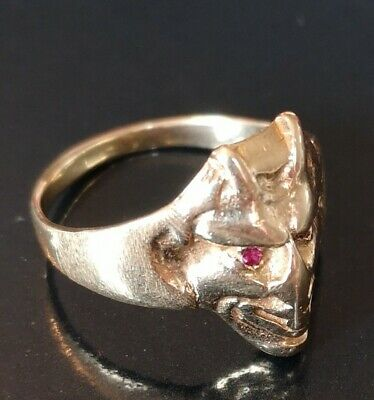 Very rare solid antique gold art deco devil face ring with Ruby eyes. 14 k