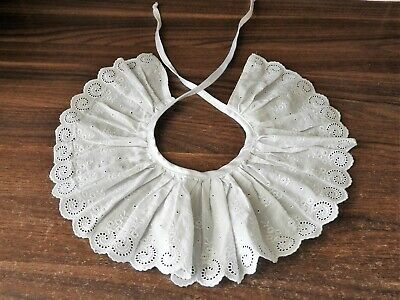 Vintage Small Girls Broderie Anglaise Detachable Collar White