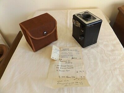 1954 Kodak Brownie Six-20 Model D With Flash Contacts, Original Invoice & Case
