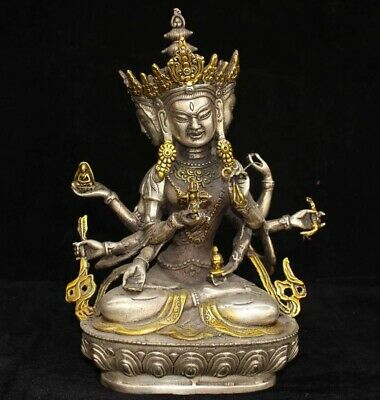Collect China Old Tibet Silver Gilding Carve Exorcism 3 Face Buddha Lucky Statue